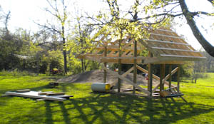 The playhouse after framing is completed.