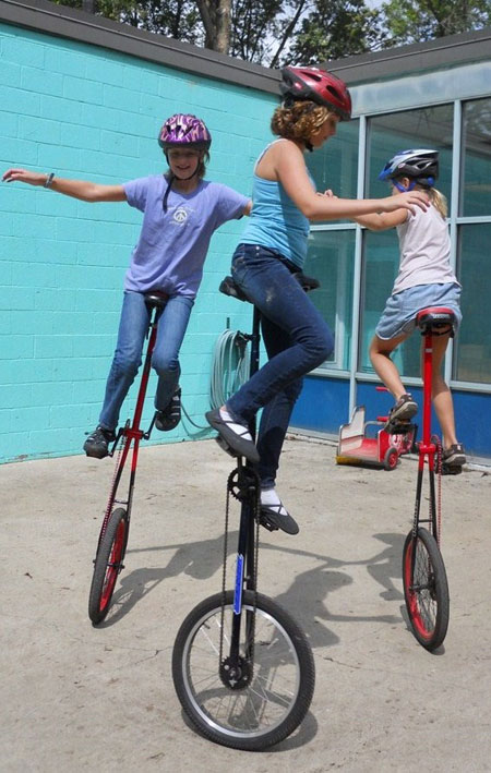 A unicycle routine.
